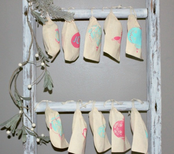 Wooden Ladder Decor Idea: Christmas Advent Calendar, Our Crafty Mom