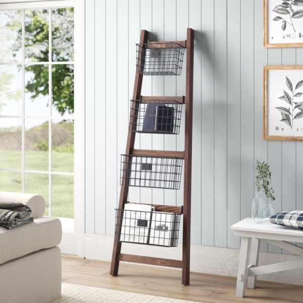 Wooden Orchard Ladder Decor Ideas, Angled Blanket Ladder With Storage Baskets