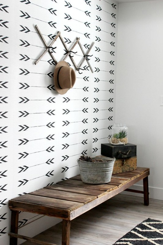 Black And White Mudroom With Wooden Bench, Metal Tub