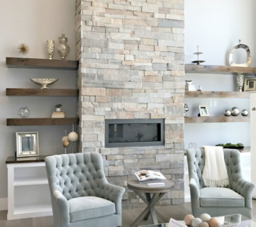 Remodelaholic On Instagram, Living Room With Floating Wood Shelves And Brick Fireplace