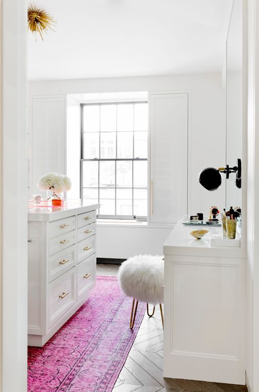 White Powder Room With Gold And Pink Accents