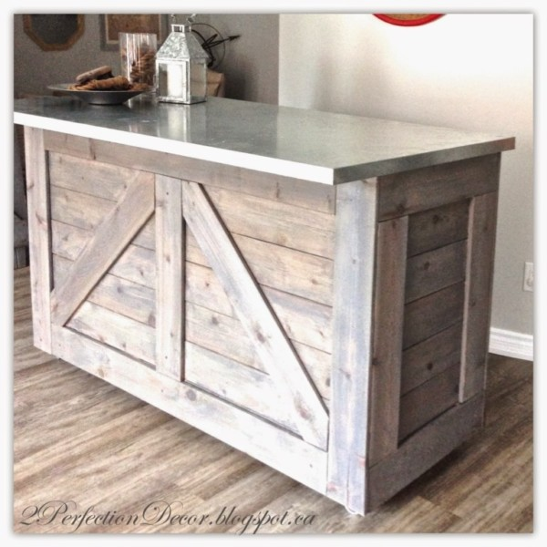 Wooden Rustic Bar With Galvanized Metal Top
