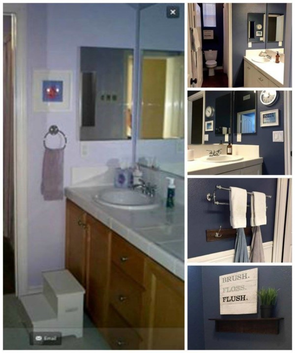 Blue Bathroom Wall Makeover With Wood And Metal Decor
