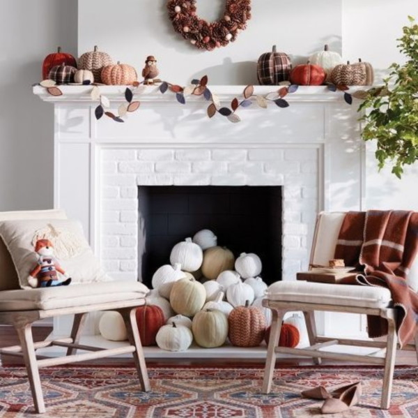 Fall Decor, Rust, Orange, White And Rown Pumpkins Falling Out Of Fireplace With Leaf Garland