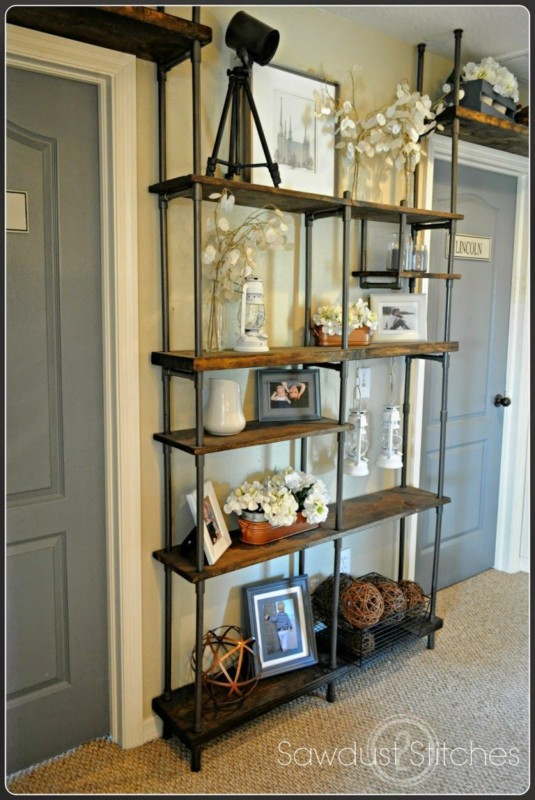 Industrial Metal And Wood Shelf From Floor To Ceiling