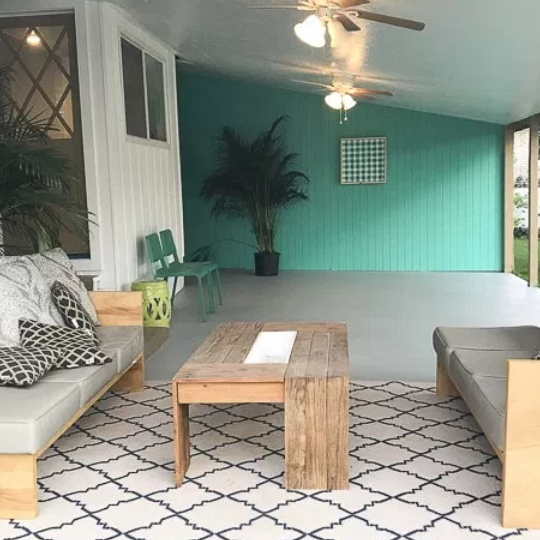 Patio With Painted Wall