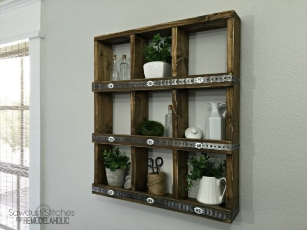 Rustic Cubby Wall Shelf Made Of Wood And Metal, Square Compartments