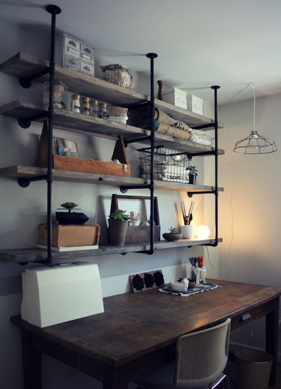 Wood And Metal Shelves Above Wooden Desk, Metal Light Fixture Hanging From Ceiling