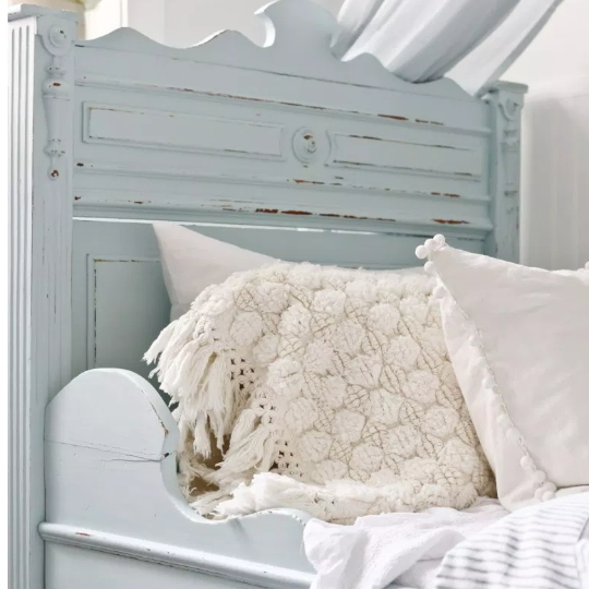Wooden Colored Bed With White And Cream Bedding