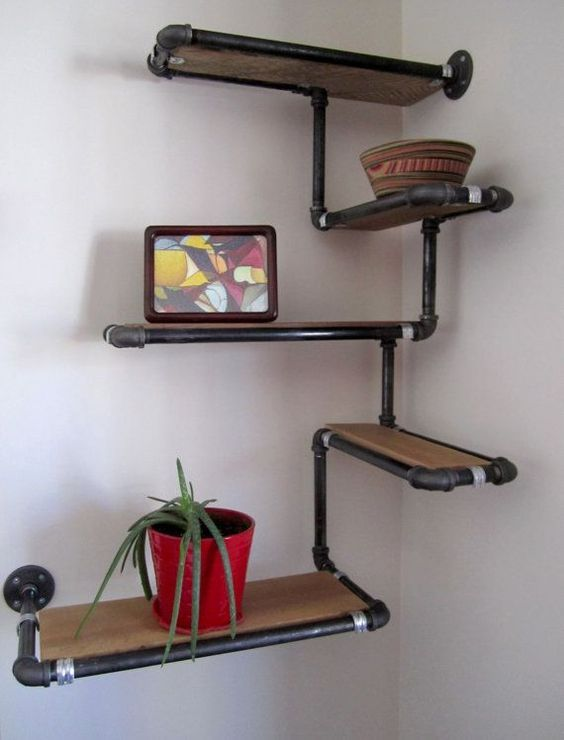 Wood And Metal Wall Shelves Industrial Piping Style