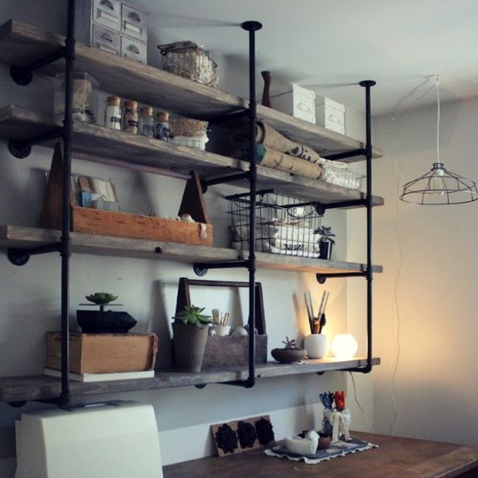 20 DIY 2x4 Shelf Ideas, Image Of Wood And Metal Shelves Hanging From Ceiling