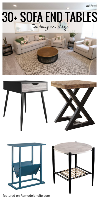 30+ Sofa End Tables To Buy Or DIY And Decorate You Living Room Or Bedroom With, Plus Even Add Storage Featured On Remodelaholic.com
