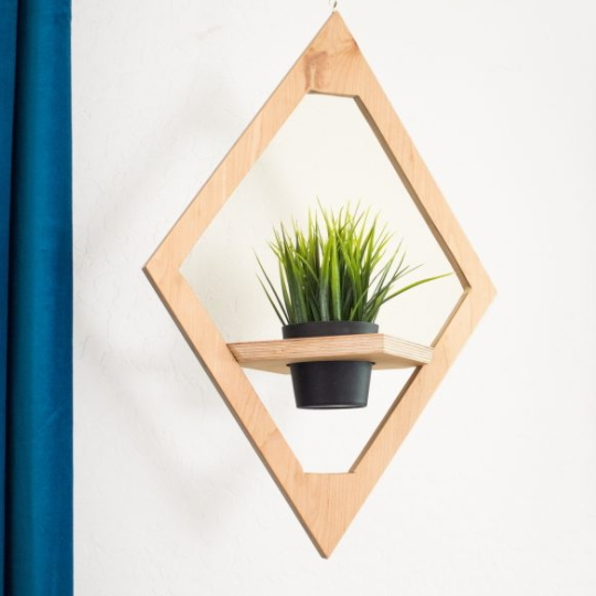 DIY West Elm Modern Hanging Planter Knock Off, Image Of Wooden Diamon Planter With Green Plant In Center