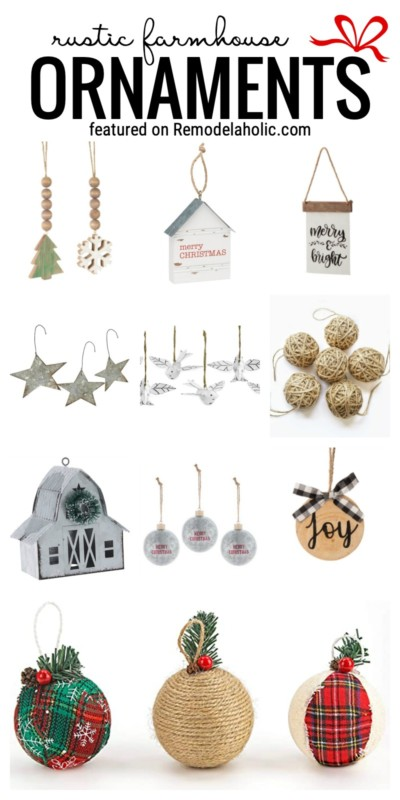 Get A Farmhouse Look For Your Christms Tree This Year With Our Favorite Rustic Farmhouse Style Ornaments Featured On Remodelaholic.com