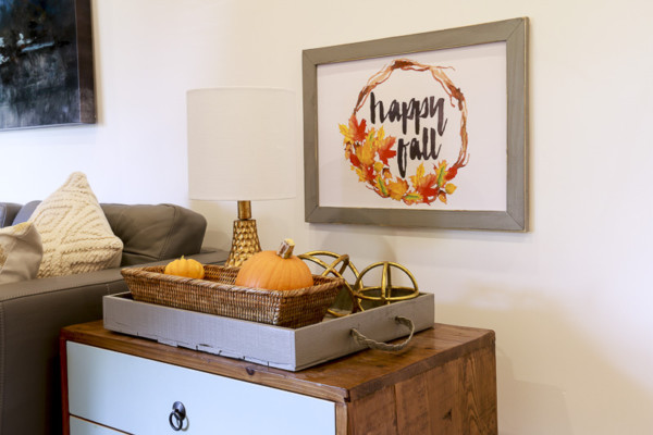 Happy Fall Print Hanging On Wall With End Tabe And Gold And Pumpkin Fall Decor