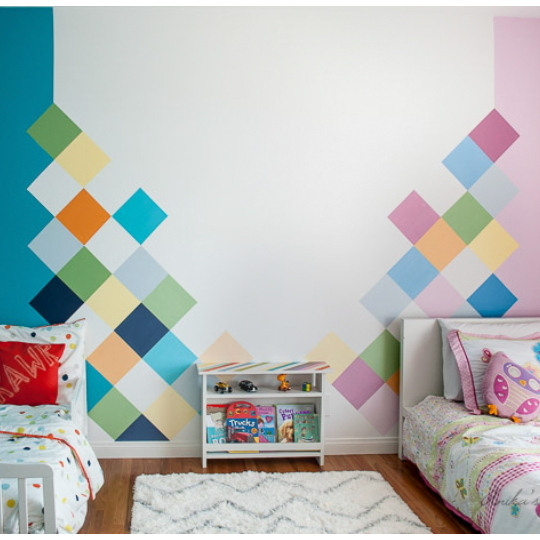 Kid Room Ideas, Picture Of Bedroom Inspiration With Painted Wall In Blue And Pink Checked Hues