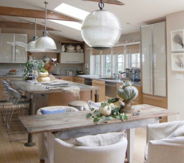 Kitchen And Dining Area, Wood Table And Ceiling Beams