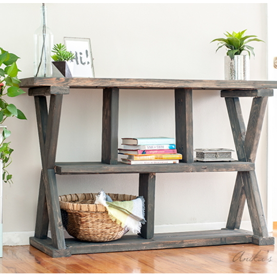 Long Narrow Wooden Shelf With Smaller Unique Shaped Shelves Under