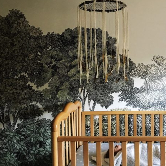 Modern Bohemian Dream Catcher Nursery Mobile Hanging Above Crib, Tree Walls In Background