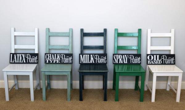 Painting Furniture Tis For Using 5 Different Types Of Paint, Photo Of 5 Chairs All Different Colors With The Type Of Paint Shown On Each
