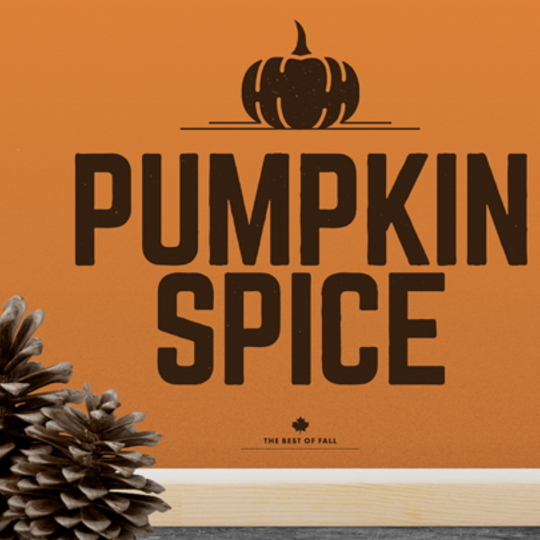 Pumpkin Spice Printable With Orange Background And Brown Font