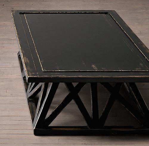Restoration Hardware Inspired Trestle Door Coffee Table