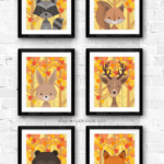Autumn Fall Leaves Woodland Animal Nursery Art Set Printable Remodelaholic