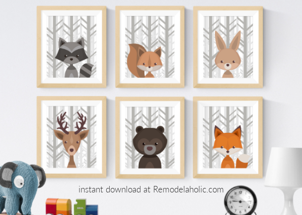 Gray Birch Forest Winter Woodland Animal Nursery Art Set Printable Download Remodelaholic