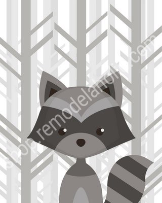 Gray Forest Woodland Animal Nursery Art Raccoon