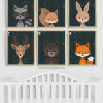 Night Sky Woodland Animals Nursery Art Printable Set Vertical Remodelaholic