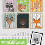 Printable Woodland Animal Nursery Art Set, All Seasons Plus Night Sky 7 Backgrounds 6 Creatures Remodelaholic