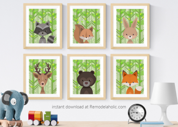 Summer Woodland Animal Nursery Art Printable Set Remodelaholic