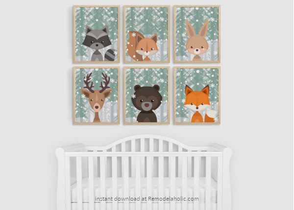 Winter Evergreen Snow Woodland Animal Nursery Art Set Printable Remodelaholic