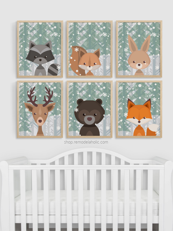 Winter Evergreen Snow Woodland Animal Nursery Art Set Vertical Remodelaholic