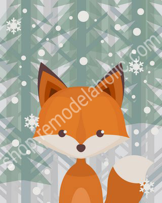 Winter Evergreen Woodland Animal Nursery Art Fox