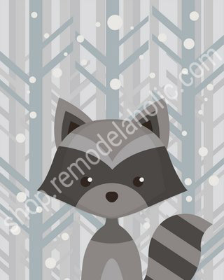 Winter Grey Woodland Animal Nursery Art Raccoon