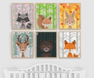 Woodland Animal Nursery Art All Seasons Plus Night Sky Remodelaholic