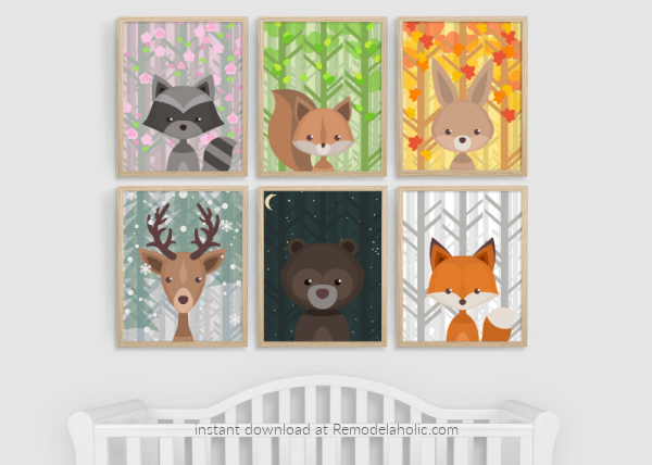 Woodland Animal Nursery Art All Seasons Plus Night Sky Remodelaholic