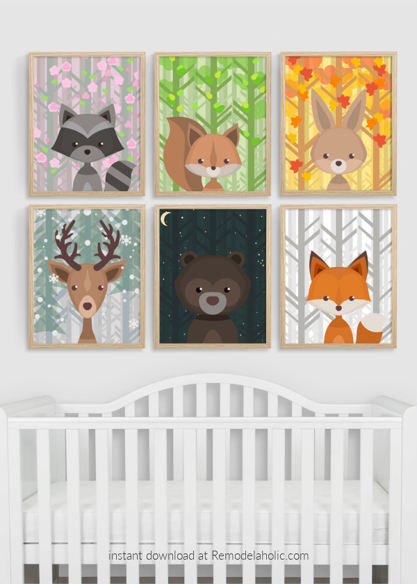 Woodland Animal Nursery Art All Seasons Plus Night Sky Download Remodelaholic