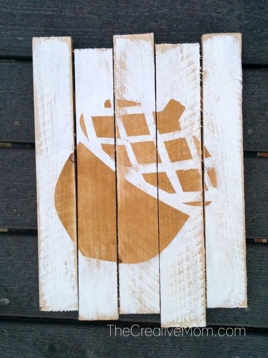 Acorn Art On Pallet Wood