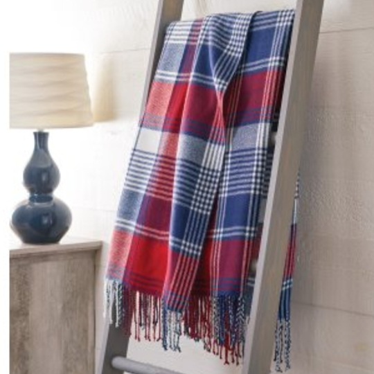 Affordable Fall Throws, Fall Throw Hanging On Blanket Ladder