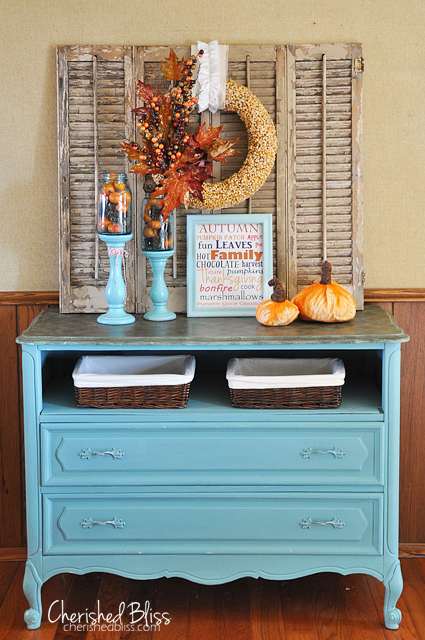 Blue Dresser With Open Drawer For Baskets And Pumpkins And Fall Pritable