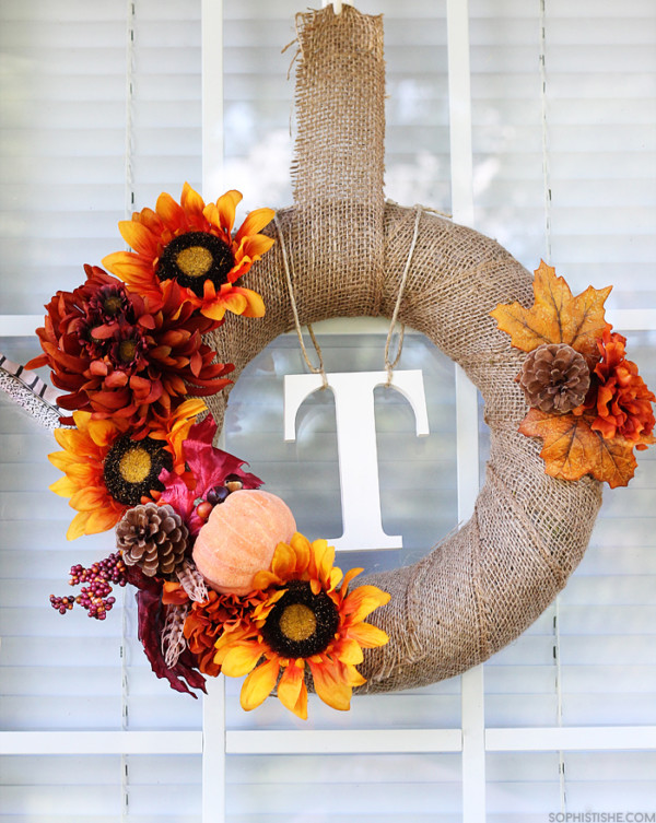 Burlap Wreath With Fall Flowers And Leaves Pumpkin And Pine Cones