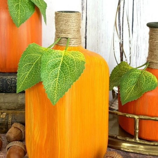 Cute Painted Bottle To Look Like A Pumpkin, Various Sizes And Shapes