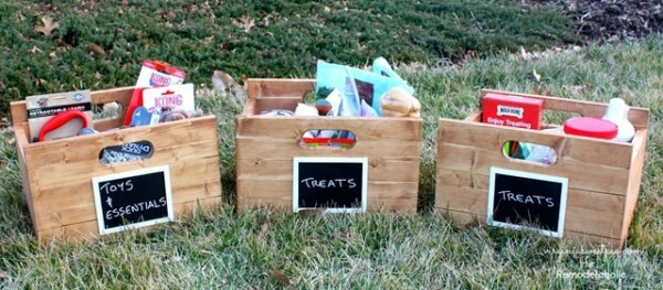DIY Wood Storage Boxes With Handles And White Chalkboard Labels