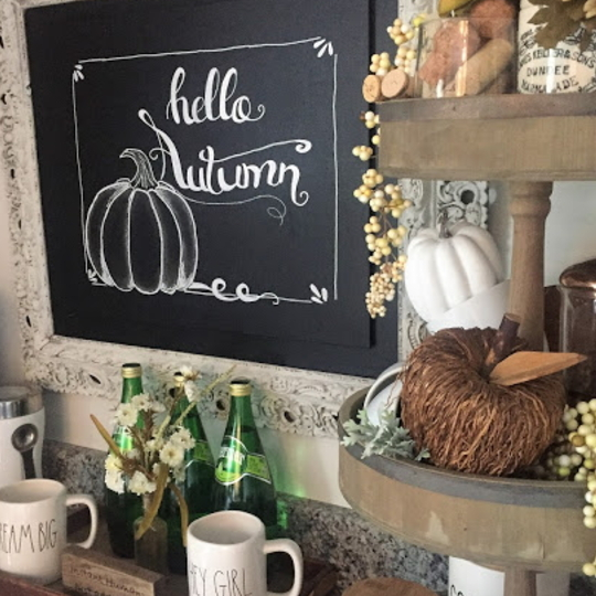 Drink Station With Chalkboard Hellow Autumn Art And Pumpkins In Tier Tray