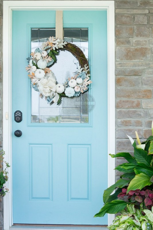 Egg Shell Blue Door With White Pumpkin, Blue And Orange Floral Wreath