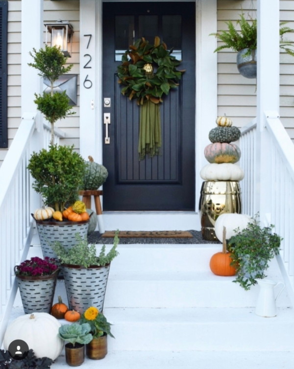 Fall Front Porch, Black Door With Green Wreath, Metal Flower Pots With Pumpkins And Green Plants