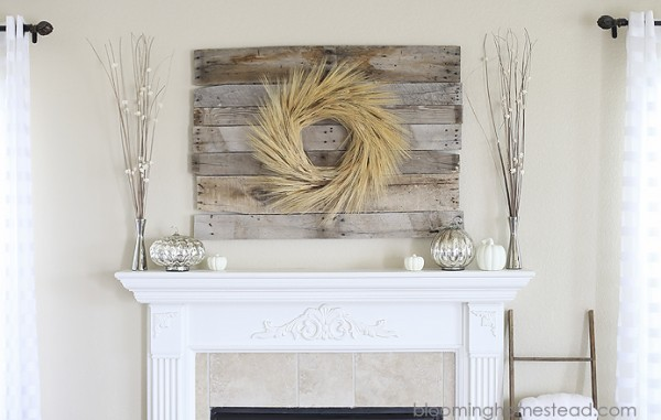 Fall Mantel With Gorgeous Barn Wood And Wheat Grass Wreath Behind