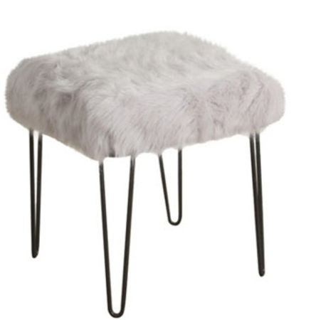 Faux White Fur And Metal Stool